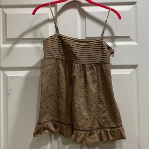 Juicy Couture Brown Lace Pintuck Cami Tank Top XS